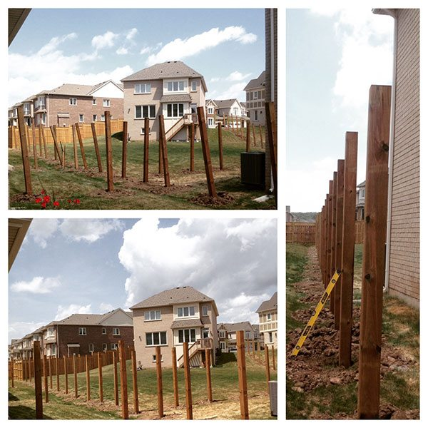 Drilling backyard fence posts in new subdivision